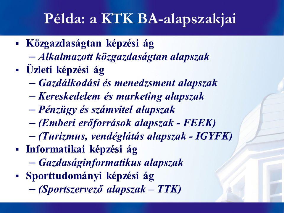 Példa: a KTK BA-alapszakjai  Közgazdaságtan képzési ág –Alkalmazott közgazdaságtan alapszak  Üzleti képzési ág –Gazdálkodási és menedzsment alapszak –Kereskedelem és marketing alapszak –Pénzügy és számvitel alapszak –(Emberi erőforrások alapszak - FEEK) –(Turizmus, vendéglátás alapszak - IGYFK)  Informatikai képzési ág –Gazdaságinformatikus alapszak  Sporttudományi képzési ág –(Sportszervező alapszak – TTK)