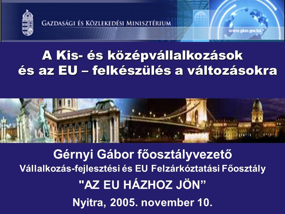 A Kis- és középvállalkozások és az EU – felkészülés a változásokra Gérnyi Gábor főosztályvezető Vállalkozás-fejlesztési és EU Felzárkóztatási Főosztály AZ EU HÁZHOZ JÖN Nyitra, 2005.