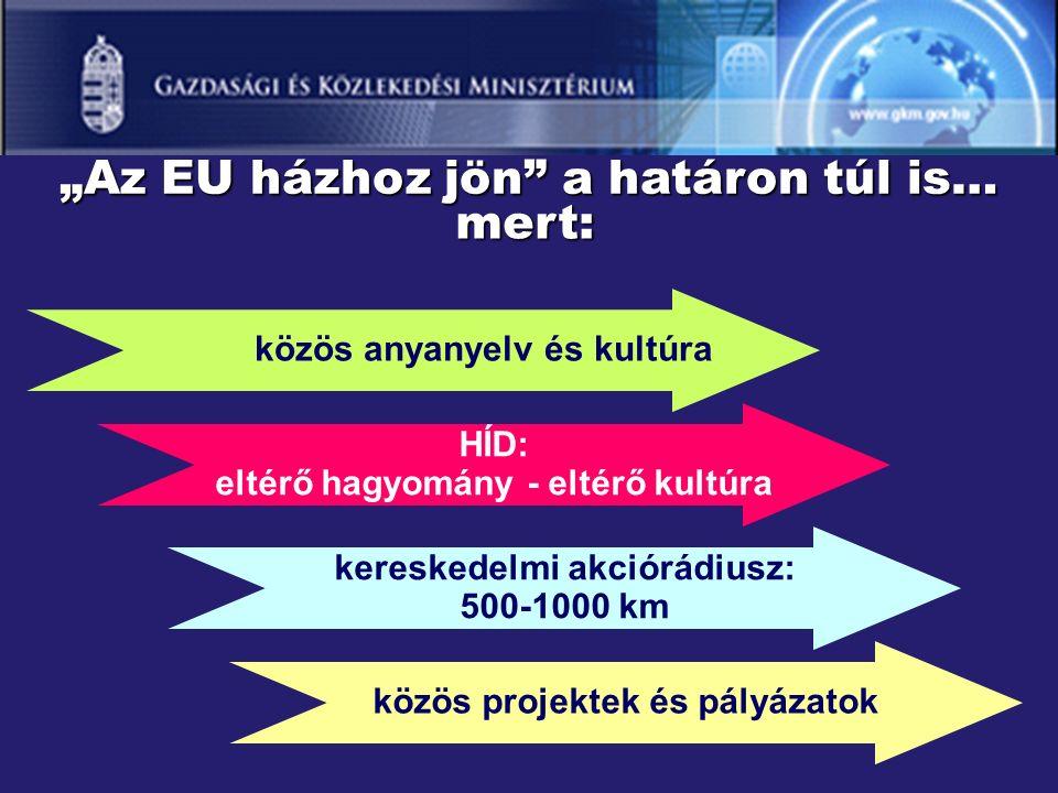 """""""Az EU házhoz jön a határon túl is… mert: közös anyanyelv és kultúra HÍD: eltérő hagyomány - eltérő kultúra kereskedelmi akciórádiusz: 500-1000 km közös projektek és pályázatok"""