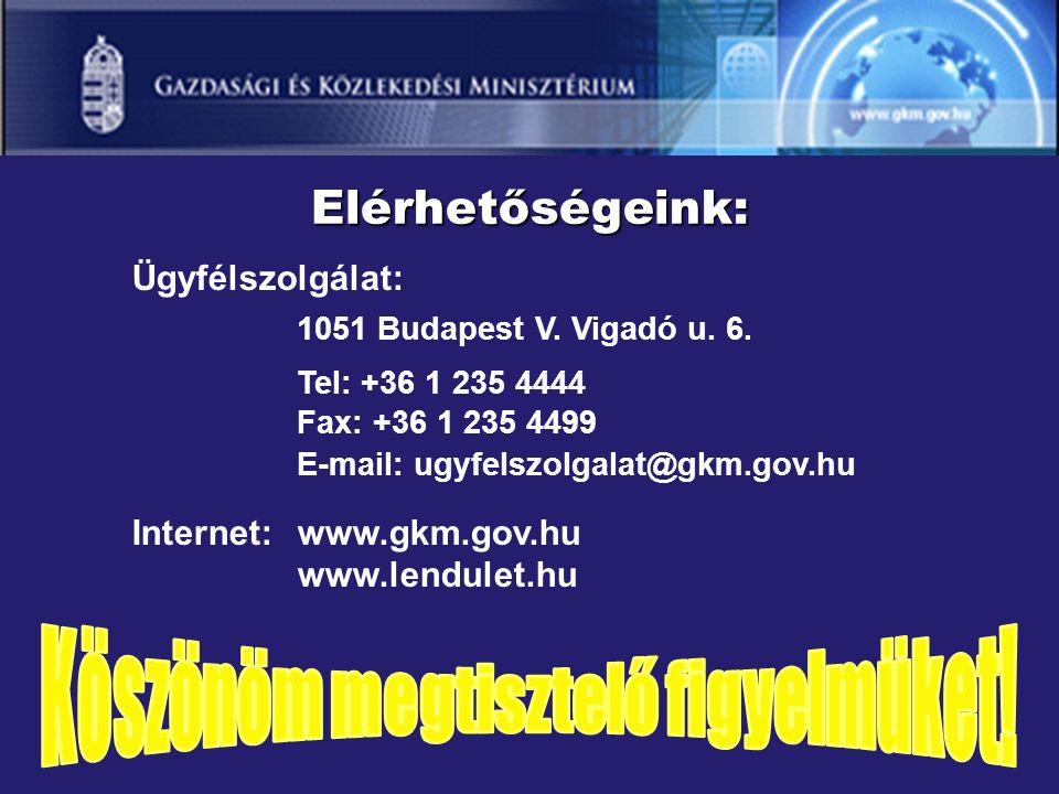 Ügyfélszolgálat: 1051 Budapest V. Vigadó u. 6.