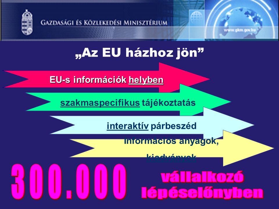 """""""Az EU házhoz jön EU-s információk helyben szakmaspecifikus tájékoztatás interaktív párbeszéd Információs anyagok, kiadványok"""