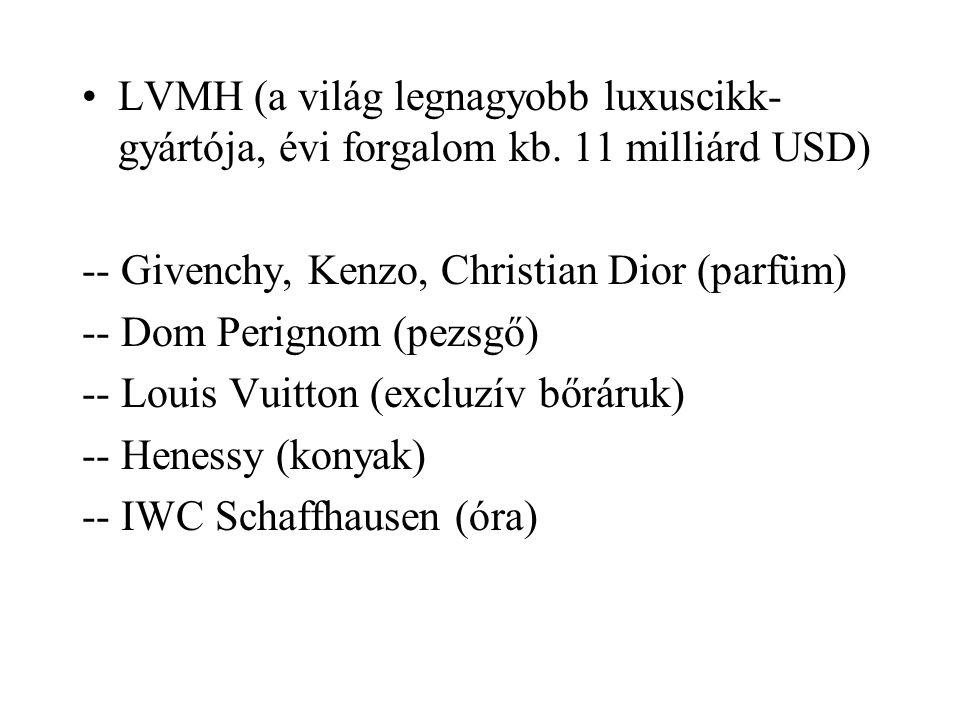 LVMH (a világ legnagyobb luxuscikk- gyártója, évi forgalom kb. 11 milliárd USD) -- Givenchy, Kenzo, Christian Dior (parfüm) -- Dom Perignom (pezsgő) -