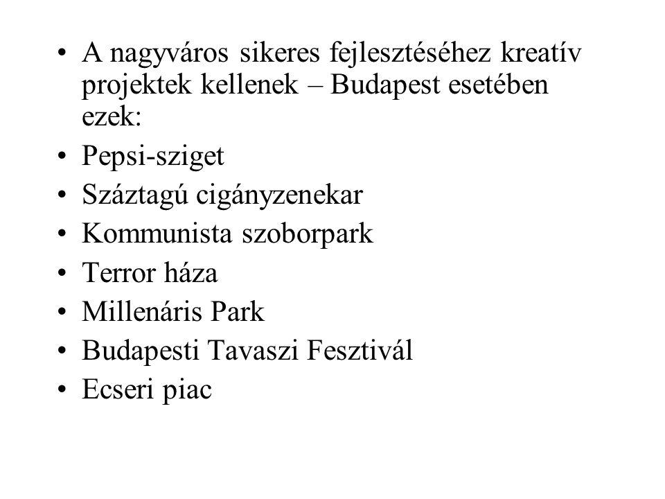 A nagyváros sikeres fejlesztéséhez kreatív projektek kellenek – Budapest esetében ezek: Pepsi-sziget Száztagú cigányzenekar Kommunista szoborpark Terror háza Millenáris Park Budapesti Tavaszi Fesztivál Ecseri piac