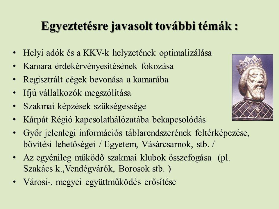 Egyeztetésre javasolt további témák : Helyi adók és a KKV-k helyzetének optimalizálása Kamara érdekérvényesítésének fokozása Regisztrált cégek bevonása a kamarába Ifjú vállalkozók megszólítása Szakmai képzések szükségessége Kárpát Régió kapcsolathálózatába bekapcsolódás Győr jelenlegi információs táblarendszerének feltérképezése, bővítési lehetőségei / Egyetem, Vásárcsarnok, stb.