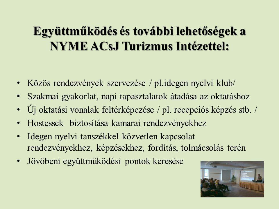 Együttműködés és további lehetőségek a NYME ACsJ Turizmus Intézettel: Közös rendezvények szervezése / pl.idegen nyelvi klub/ Szakmai gyakorlat, napi tapasztalatok átadása az oktatáshoz Új oktatási vonalak feltérképezése / pl.