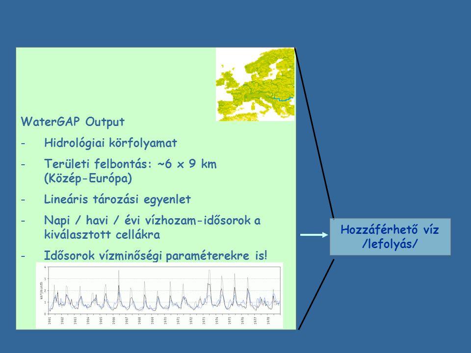 WaterGAP Output -Hidrológiai körfolyamat -Területi felbontás: ~6 x 9 km (Közép-Európa) -Lineáris tározási egyenlet -Napi / havi / évi vízhozam-idősorok a kiválasztott cellákra -Idősorok vízminőségi paraméterekre is.