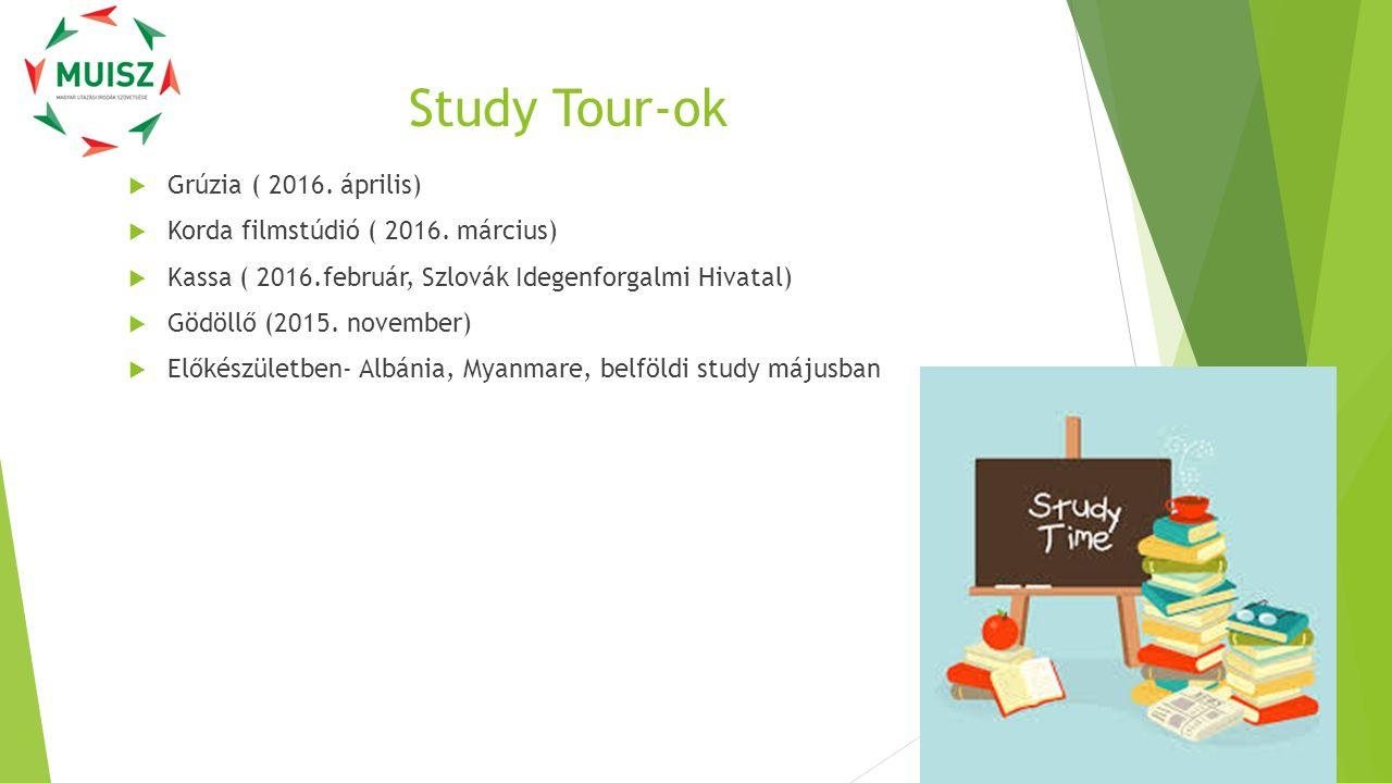 Study Tour-ok  Grúzia ( 2016. április)  Korda filmstúdió ( 2016. március)  Kassa ( 2016.február, Szlovák Idegenforgalmi Hivatal)  Gödöllő (2015. n
