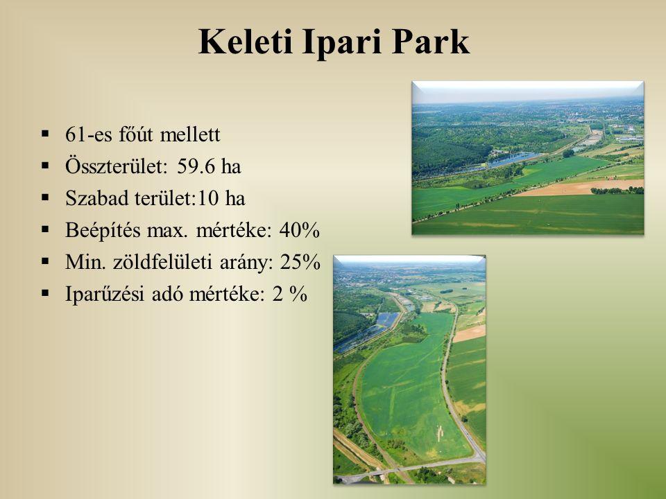 Keleti Ipari Park  61-es főút mellett  Összterület: 59.6 ha  Szabad terület:10 ha  Beépítés max. mértéke: 40%  Min. zöldfelületi arány: 25%  Ipa