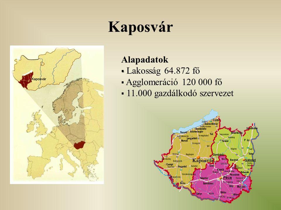 Kaposvár Alapadatok   Lakosság 64.872 fő  Agglomeráció 120 000 fő  11.000 gazdálkodó szervezet