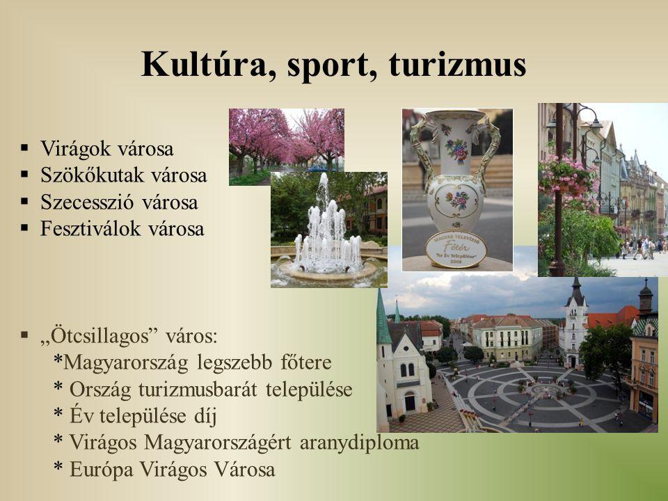 """Kultúra, sport, turizmus  Virágok városa  Szökőkutak városa  Szecesszió városa  Fesztiválok városa  """"Ötcsillagos"""" város: *Magyarország legszebb f"""