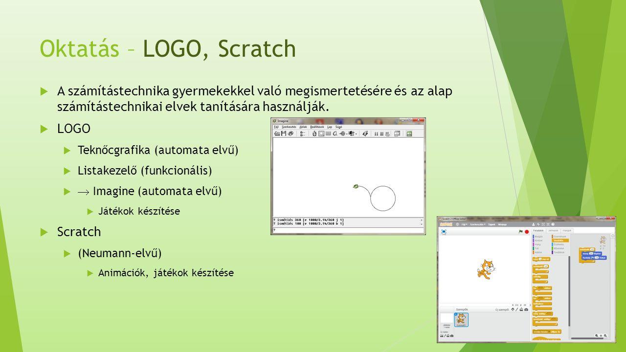 Oktatás – LOGO, Scratch  A számítástechnika gyermekekkel való megismertetésére és az alap számítástechnikai elvek tanítására használják.