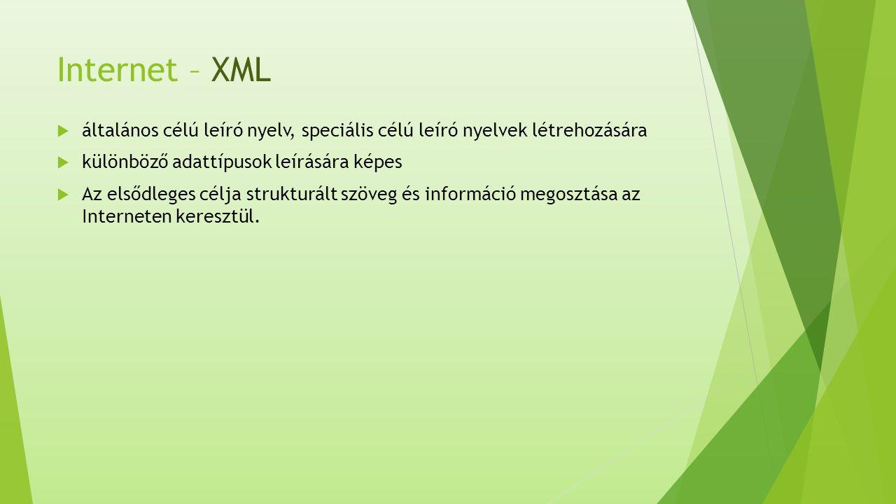 Internet – XML  általános célú leíró nyelv, speciális célú leíró nyelvek létrehozására  különböző adattípusok leírására képes  Az elsődleges célja strukturált szöveg és információ megosztása az Interneten keresztül.