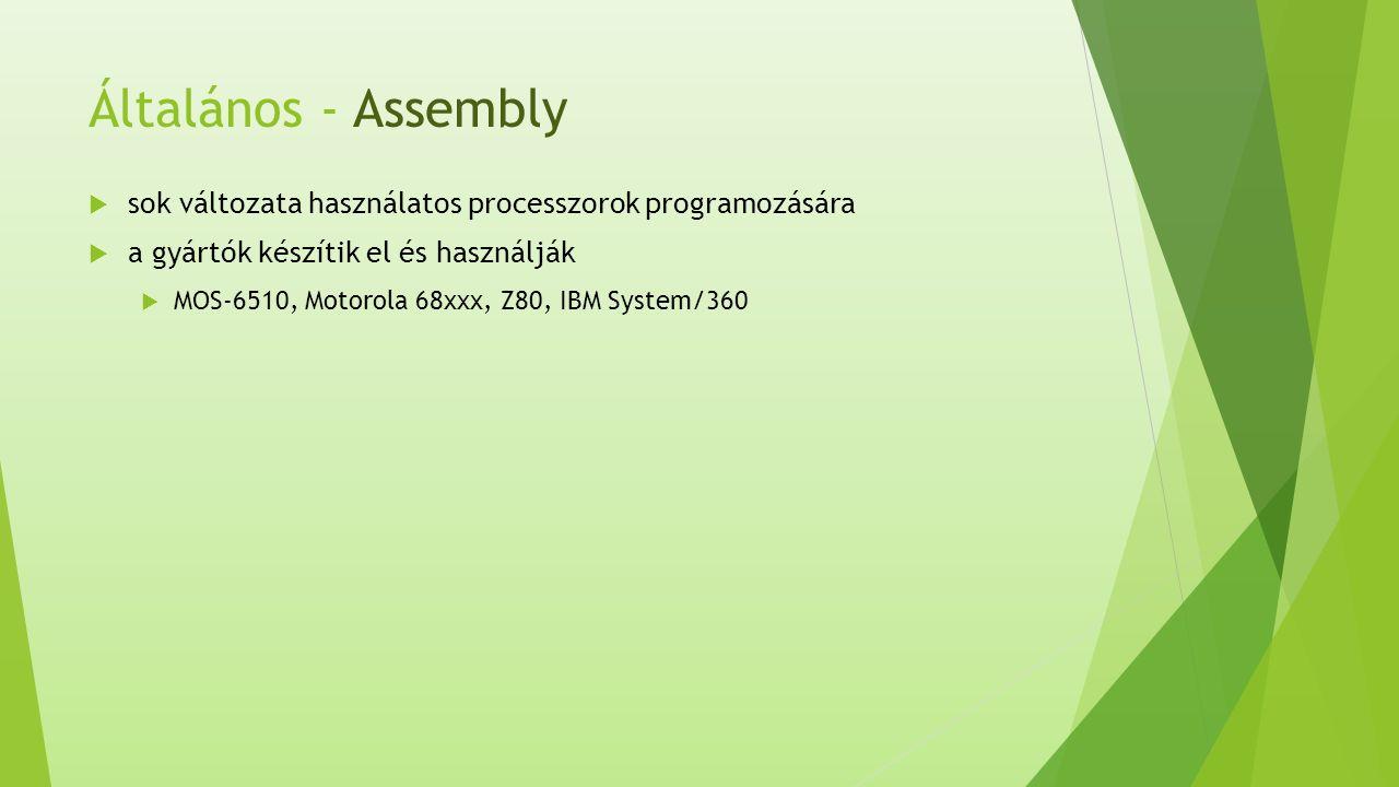 Általános - Assembly  sok változata használatos processzorok programozására  a gyártók készítik el és használják  MOS-6510, Motorola 68xxx, Z80, IBM System/360
