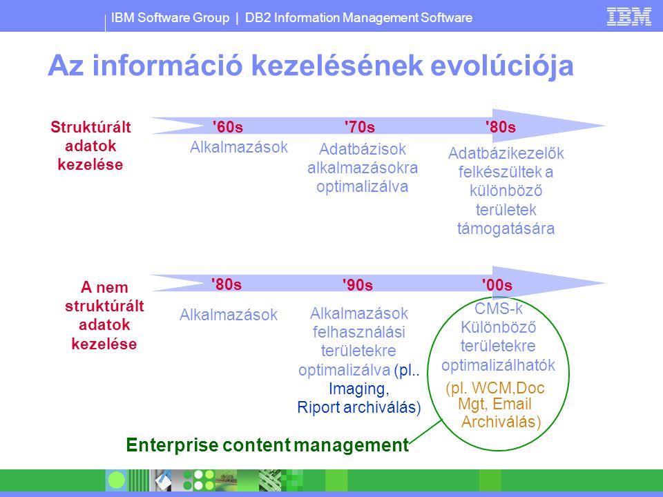 IBM Software Group | DB2 Information Management Software Az információ kezelésének evolúciója 60s Alkalmazások 70s Adatbázisok alkalmazásokra optimalizálva 80s Adatbázikezelők felkészültek a különböző területek támogatására Struktúrált adatok kezelése Enterprise content management 80s 90s Alkalmazások felhasználási területekre optimalizálva (pl..