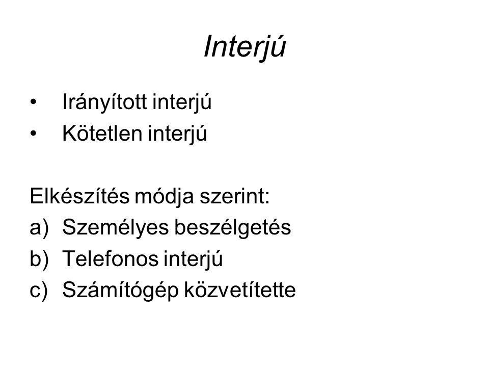 Interjú Irányított interjú Kötetlen interjú Elkészítés módja szerint: a)Személyes beszélgetés b)Telefonos interjú c)Számítógép közvetítette