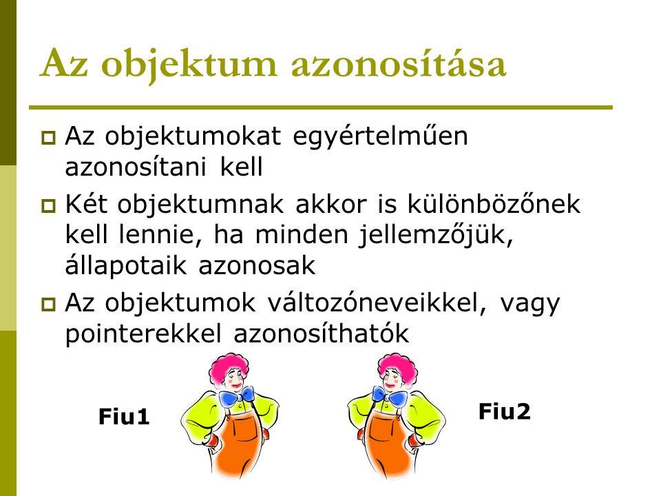 Az objektum azonosítása  Az objektumokat egyértelműen azonosítani kell  Két objektumnak akkor is különbözőnek kell lennie, ha minden jellemzőjük, ál