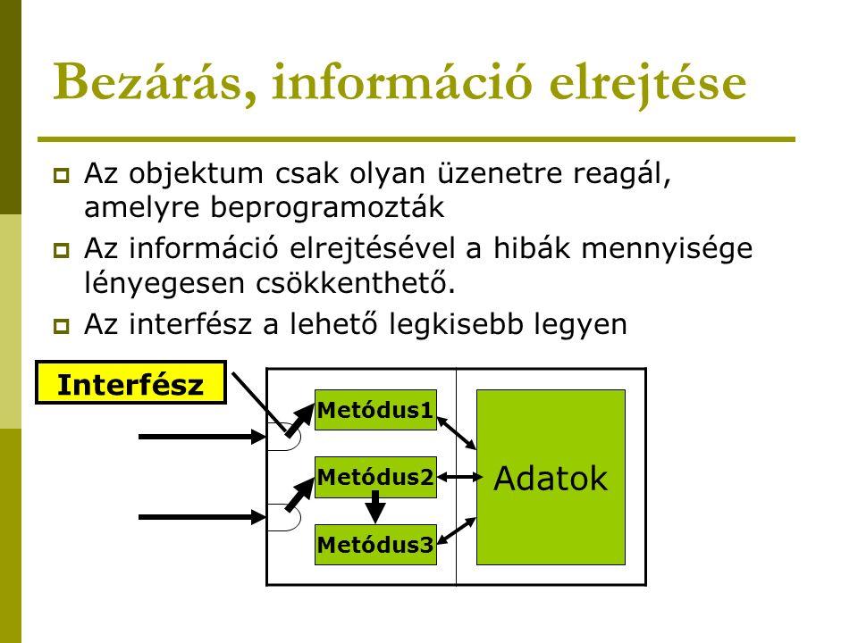 Bezárás, információ elrejtése  Az objektum csak olyan üzenetre reagál, amelyre beprogramozták  Az információ elrejtésével a hibák mennyisége lényege