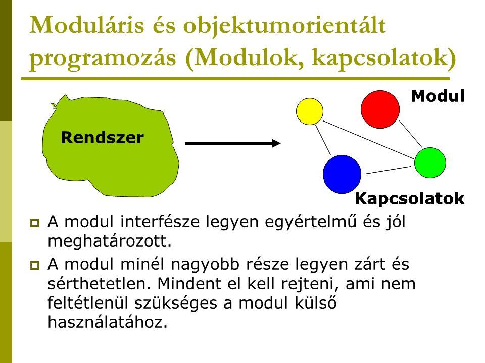 Moduláris és objektumorientált programozás (Modulok, kapcsolatok)  A modul interfésze legyen egyértelmű és jól meghatározott.  A modul minél nagyobb