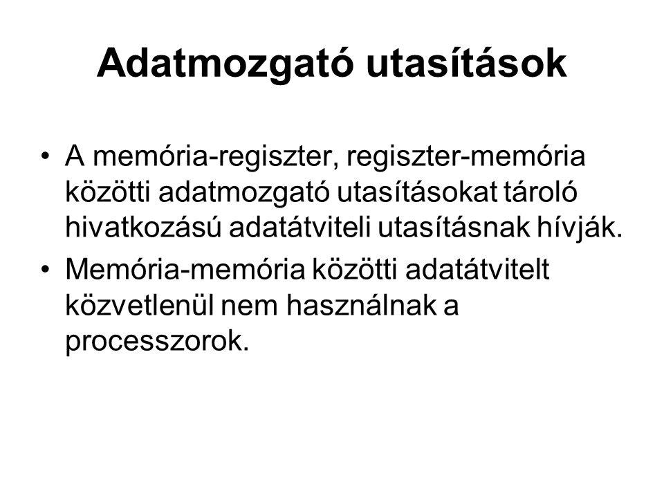 Adatmozgató utasítások A memória-regiszter, regiszter-memória közötti adatmozgató utasításokat tároló hivatkozású adatátviteli utasításnak hívják.