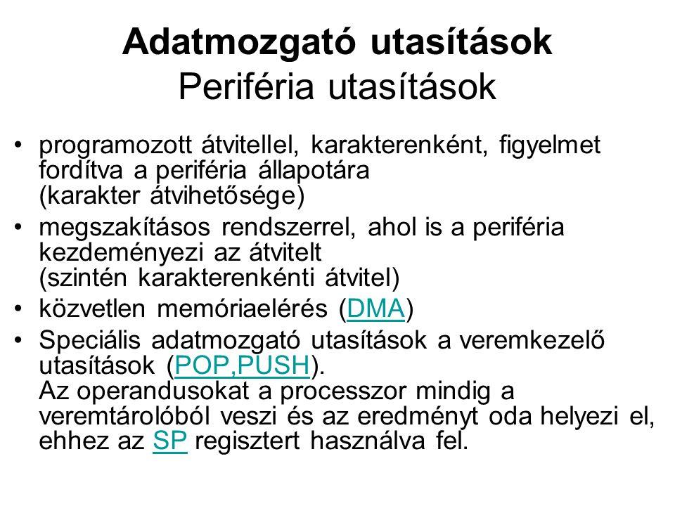 Adatmozgató utasítások Periféria utasítások programozott átvitellel, karakterenként, figyelmet fordítva a periféria állapotára (karakter átvihetősége) megszakításos rendszerrel, ahol is a periféria kezdeményezi az átvitelt (szintén karakterenkénti átvitel) közvetlen memóriaelérés (DMA)DMA Speciális adatmozgató utasítások a veremkezelő utasítások (POP,PUSH).