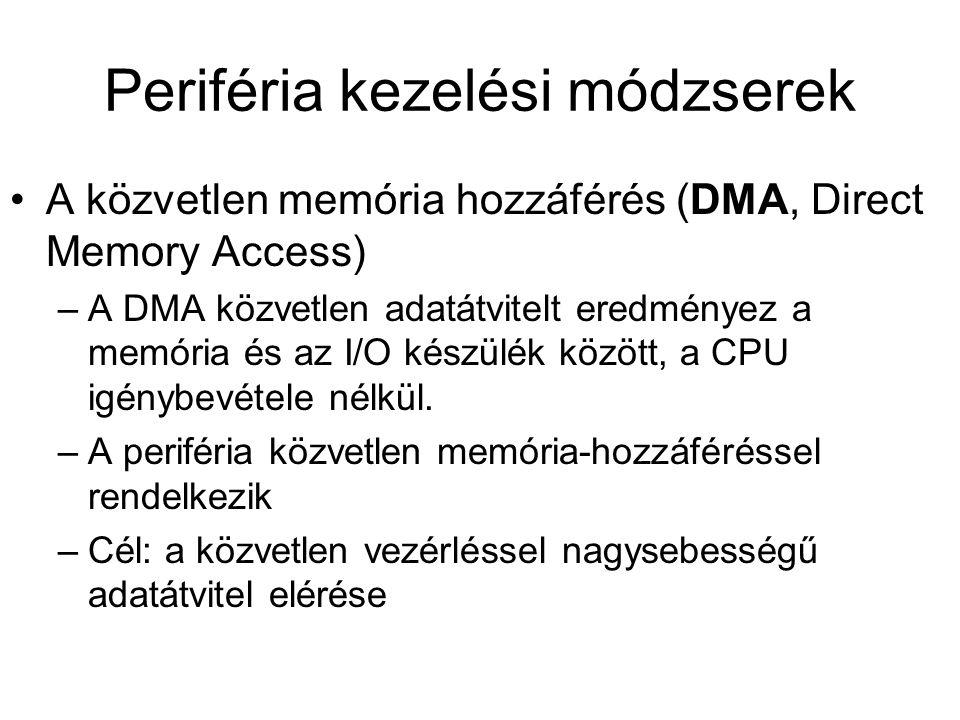 A közvetlen memória hozzáférés (DMA, Direct Memory Access) –A DMA közvetlen adatátvitelt eredményez a memória és az I/O készülék között, a CPU igénybevétele nélkül.