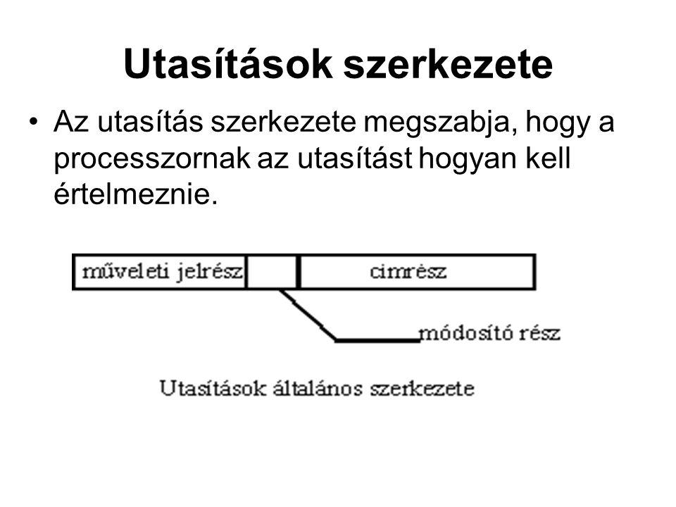 Az utasítás szerkezete megszabja, hogy a processzornak az utasítást hogyan kell értelmeznie.