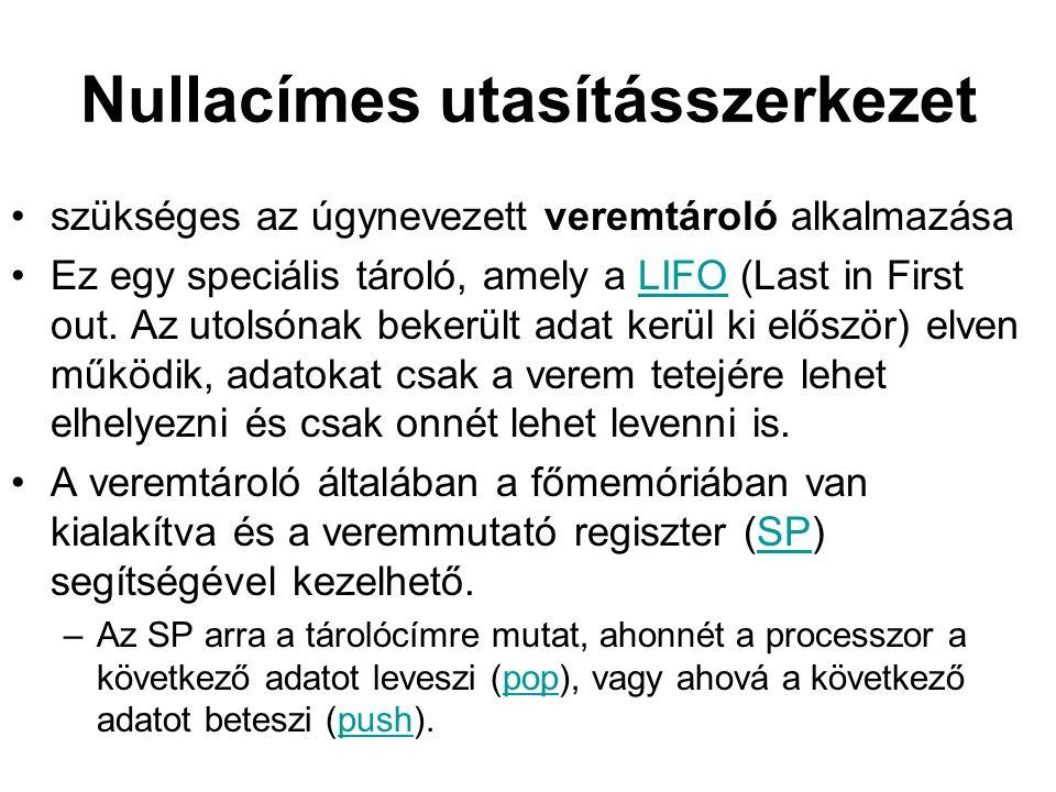 Nullacímes utasításszerkezet szükséges az úgynevezett veremtároló alkalmazása Ez egy speciális tároló, amely a LIFO (Last in First out.