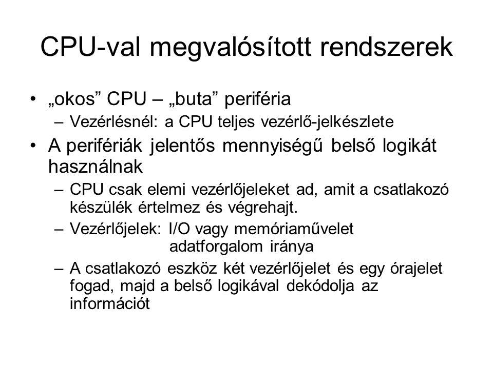 """CPU-val megvalósított rendszerek """"okos CPU – """"buta periféria –Vezérlésnél: a CPU teljes vezérlő-jelkészlete A perifériák jelentős mennyiségű belső logikát használnak –CPU csak elemi vezérlőjeleket ad, amit a csatlakozó készülék értelmez és végrehajt."""