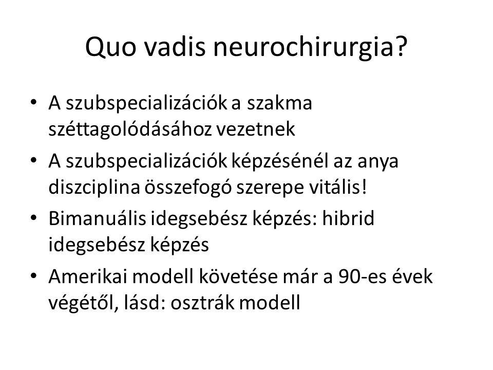 Quo vadis neurochirurgia? A szubspecializációk a szakma széttagolódásához vezetnek A szubspecializációk képzésénél az anya diszciplina összefogó szere