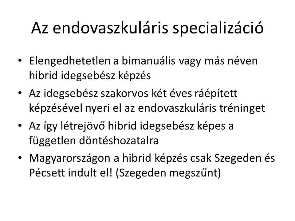 Az endovaszkuláris specializáció Elengedhetetlen a bimanuális vagy más néven hibrid idegsebész képzés Az idegsebész szakorvos két éves ráépített képzésével nyeri el az endovaszkuláris tréninget Az így létrejövő hibrid idegsebész képes a független döntéshozatalra Magyarországon a hibrid képzés csak Szegeden és Pécsett indult el.