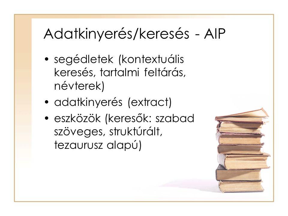 Adatkinyerés/keresés - AIP segédletek (kontextuális keresés, tartalmi feltárás, névterek) adatkinyerés (extract) eszközök (keresők: szabad szöveges, struktúrált, tezaurusz alapú)