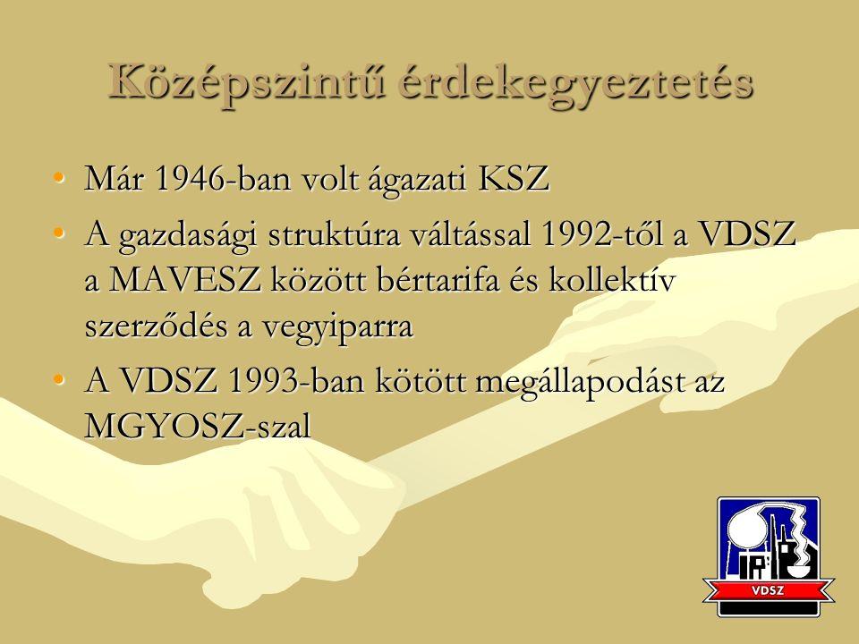 Középszintű érdekegyeztetés Már 1946-ban volt ágazati KSZMár 1946-ban volt ágazati KSZ A gazdasági struktúra váltással 1992-től a VDSZ a MAVESZ között bértarifa és kollektív szerződés a vegyiparraA gazdasági struktúra váltással 1992-től a VDSZ a MAVESZ között bértarifa és kollektív szerződés a vegyiparra A VDSZ 1993-ban kötött megállapodást az MGYOSZ-szalA VDSZ 1993-ban kötött megállapodást az MGYOSZ-szal