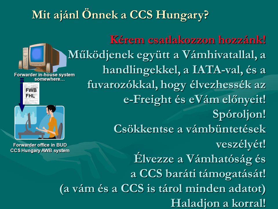 Forwarder office in BUD CCS Hungary AWB system Forwarder in-house system somewhere… Kérem csatlakozzon hozzánk.