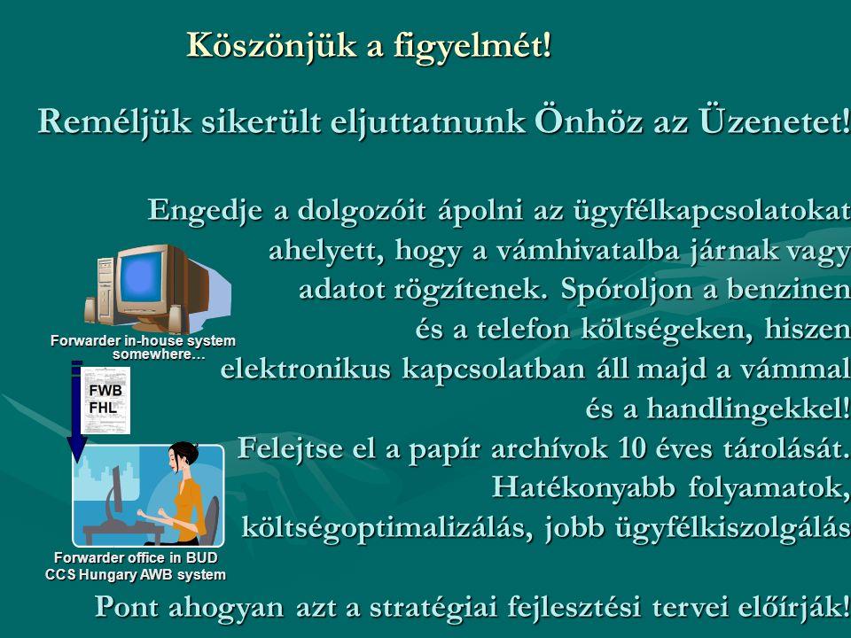 Forwarder office in BUD CCS Hungary AWB system Forwarder in-house system somewhere… Reméljük sikerült eljuttatnunk Önhöz az Üzenetet.