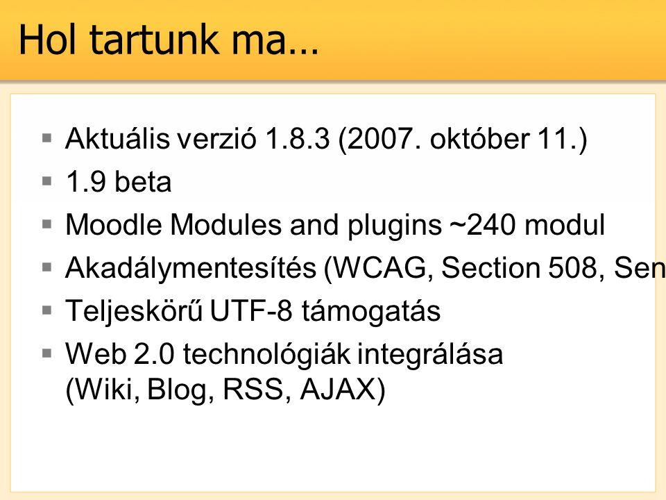 Hol tartunk ma…  Aktuális verzió 1.8.3 (2007. október 11.)  1.9 beta  Moodle Modules and plugins ~240 modul  Akadálymentesítés (WCAG, Section 508,