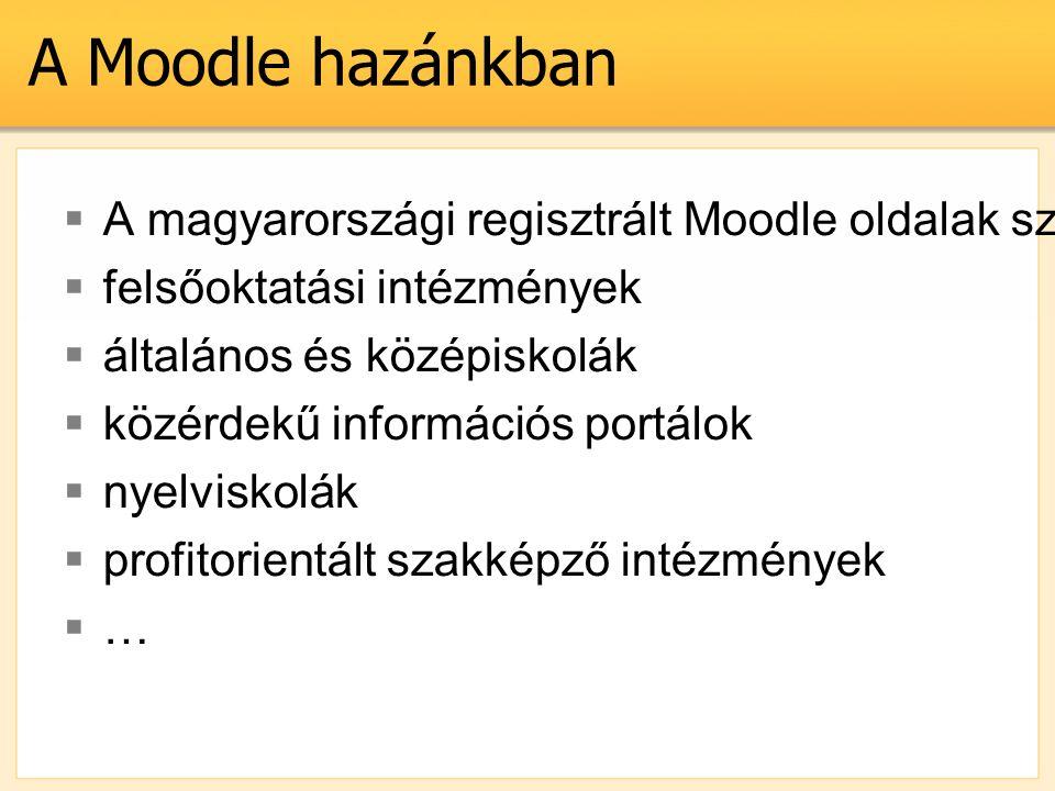 A Moodle hazánkban  A magyarországi regisztrált Moodle oldalak száma: 149 (2007. okt. 12.)  felsőoktatási intézmények  általános és középiskolák 