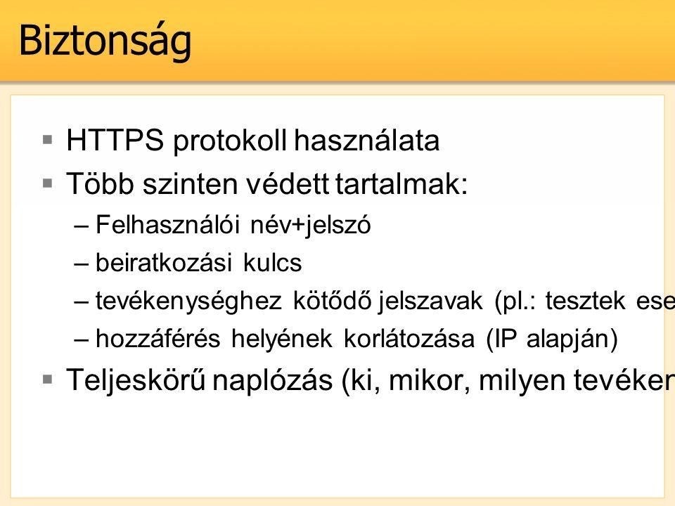 Biztonság  HTTPS protokoll használata  Több szinten védett tartalmak: –Felhasználói név+jelszó –beiratkozási kulcs –tevékenységhez kötődő jelszavak (pl.: tesztek esetén) –hozzáférés helyének korlátozása (IP alapján)  Teljeskörű naplózás (ki, mikor, milyen tevékenységet végzett)