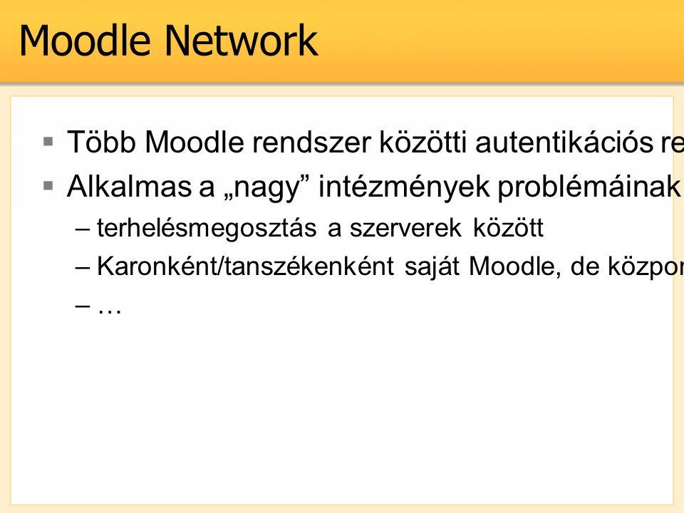 """Moodle Network  Több Moodle rendszer közötti autentikációs rendszer  Alkalmas a """"nagy intézmények problémáinak megoldására."""