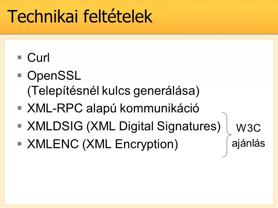 Technikai feltételek  Curl  OpenSSL (Telepítésnél kulcs generálása)  XML-RPC alapú kommunikáció  XMLDSIG (XML Digital Signatures)  XMLENC (XML En