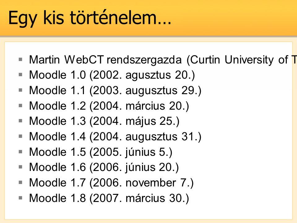 """Egy kis történelem…  Martin WebCT rendszergazda (Curtin University of Technology) - valami """"jobbat"""" szeretne kitalálni  Moodle 1.0 (2002. agusztus 2"""