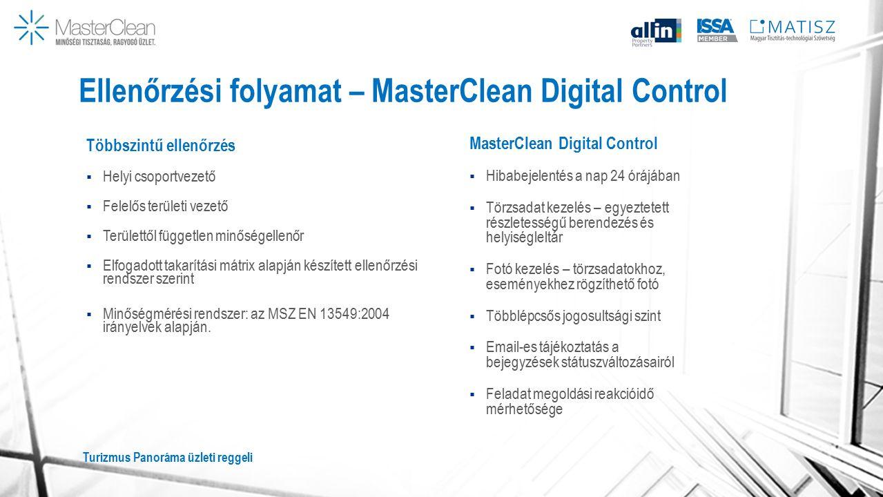 Ellenőrzési folyamat – MasterClean Digital Control Többszintű ellenőrzés  Helyi csoportvezető  Felelős területi vezető  Területtől független minőségellenőr  Elfogadott takarítási mátrix alapján készített ellenőrzési rendszer szerint  Minőségmérési rendszer: az MSZ EN 13549:2004 irányelvek alapján.