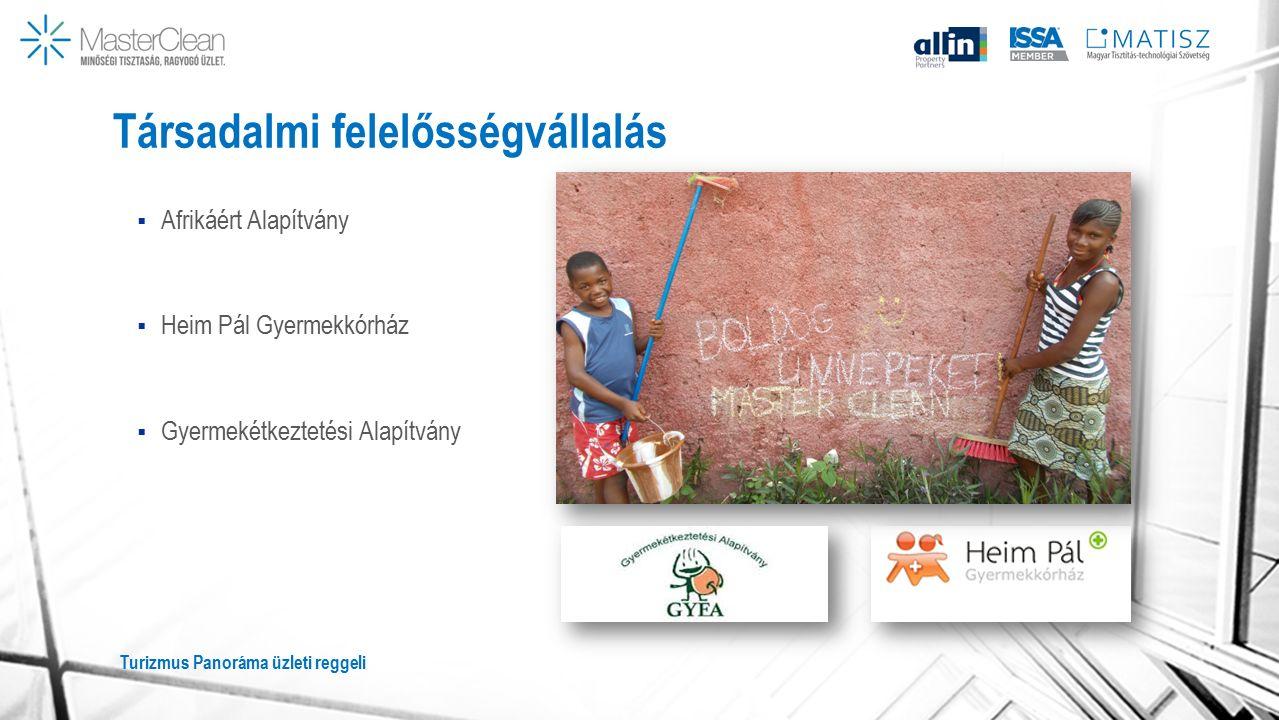 Társadalmi felelősségvállalás  Afrikáért Alapítvány  Heim Pál Gyermekkórház  Gyermekétkeztetési Alapítvány Turizmus Panoráma üzleti reggeli