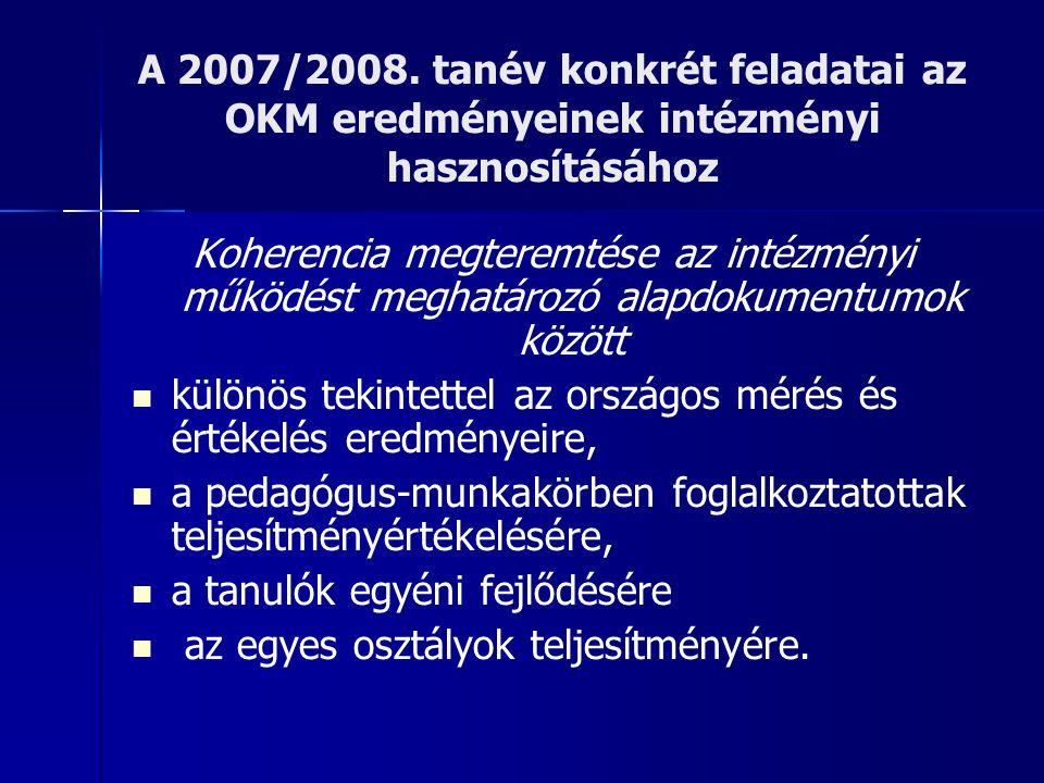 A 2007/2008. tanév konkrét feladatai az OKM eredményeinek intézményi hasznosításához Koherencia megteremtése az intézményi működést meghatározó alapdo