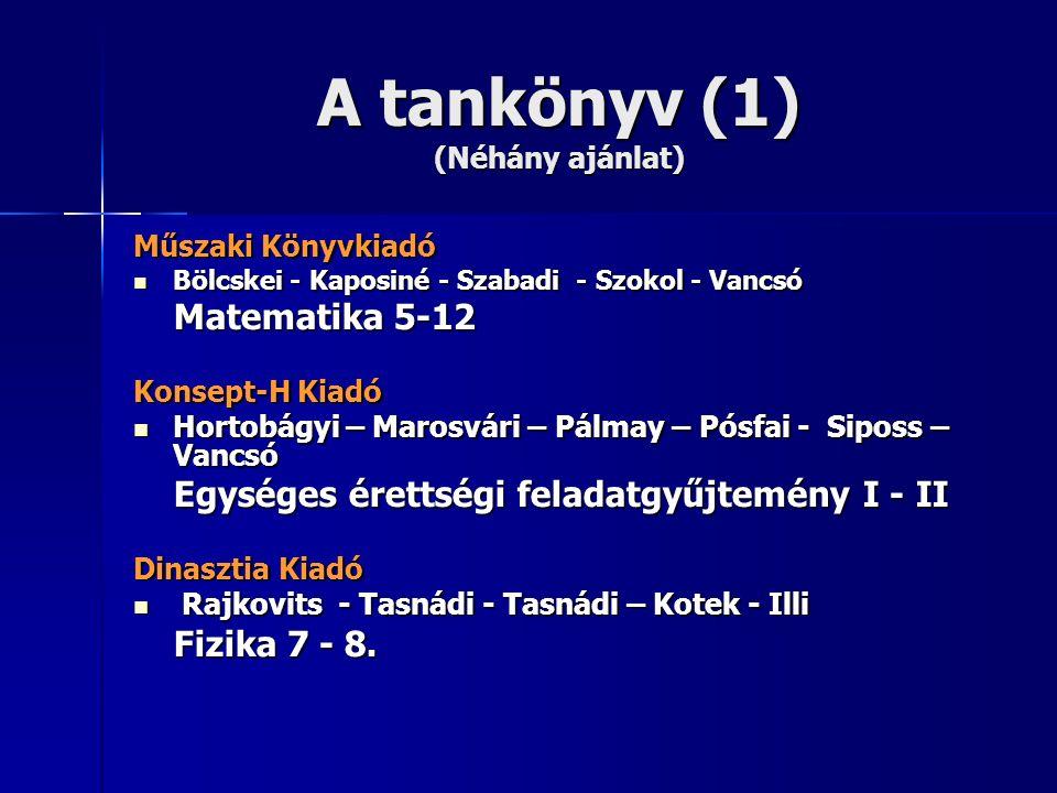 A tankönyv (1) (Néhány ajánlat) Műszaki Könyvkiadó Bölcskei - Kaposiné - Szabadi - Szokol - Vancsó Bölcskei - Kaposiné - Szabadi - Szokol - Vancsó Mat