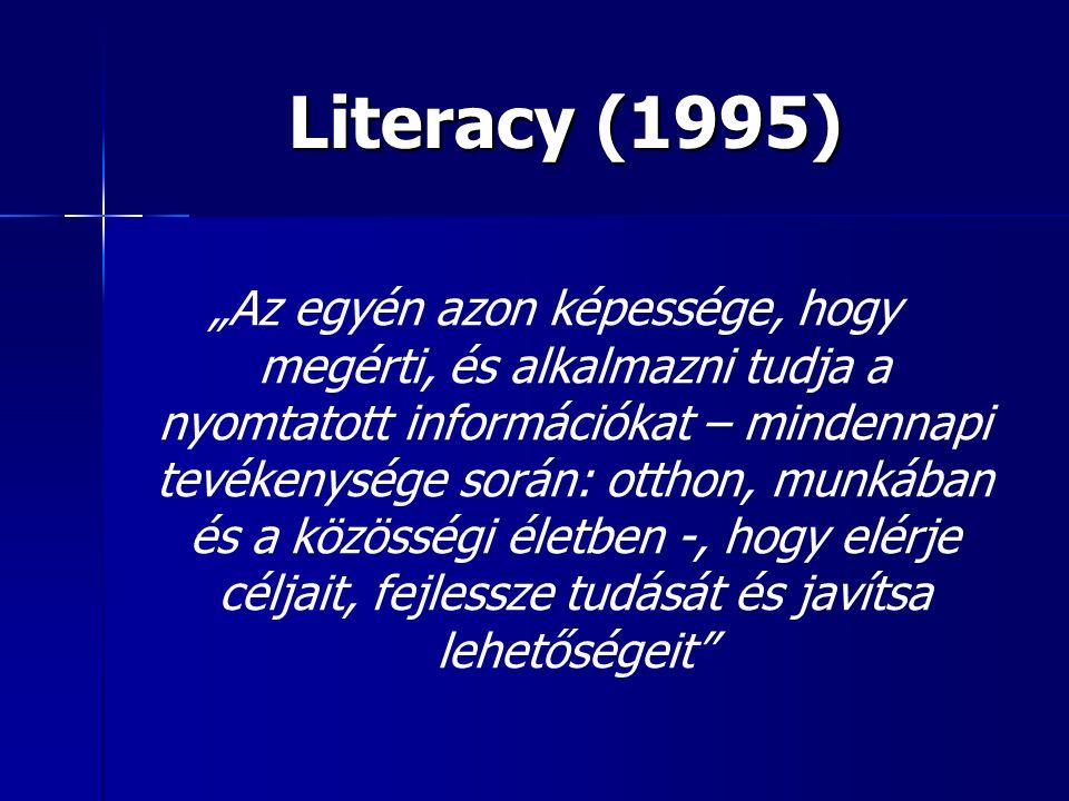 """Literacy (1995) """"Az egyén azon képessége, hogy megérti, és alkalmazni tudja a nyomtatott információkat – mindennapi tevékenysége során: otthon, munkában és a közösségi életben -, hogy elérje céljait, fejlessze tudását és javítsa lehetőségeit"""