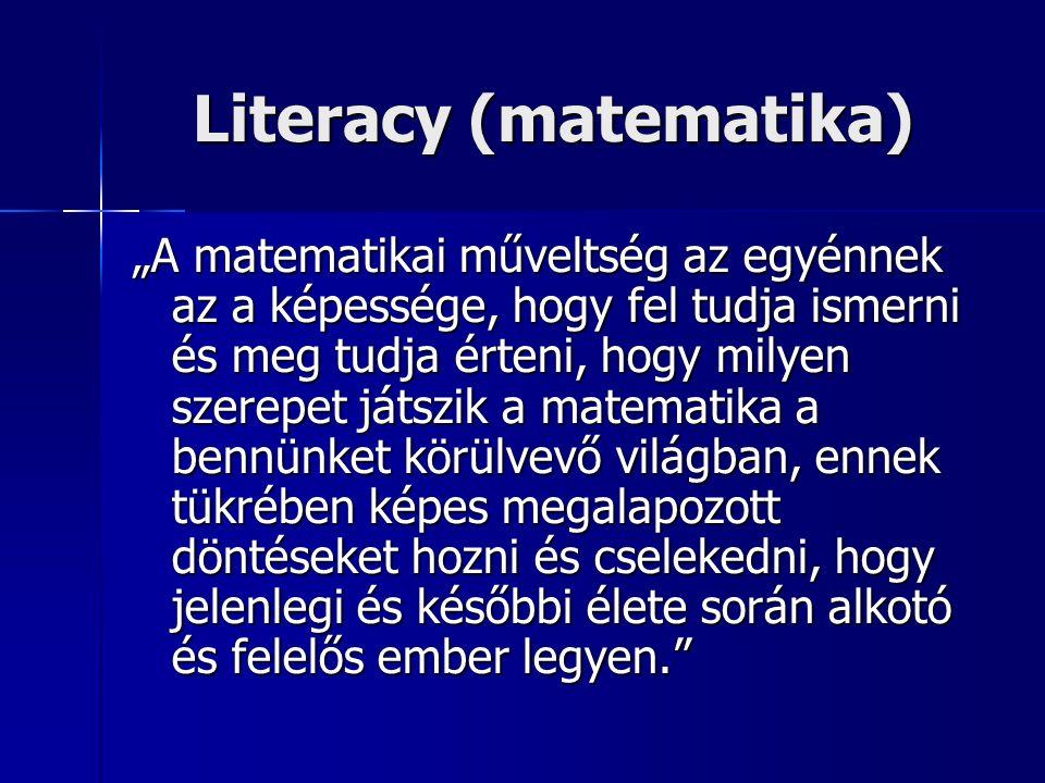 """""""A matematikai műveltség az egyénnek az a képessége, hogy fel tudja ismerni és meg tudja érteni, hogy milyen szerepet játszik a matematika a bennünket körülvevő világban, ennek tükrében képes megalapozott döntéseket hozni és cselekedni, hogy jelenlegi és későbbi élete során alkotó és felelős ember legyen. Literacy (matematika)"""
