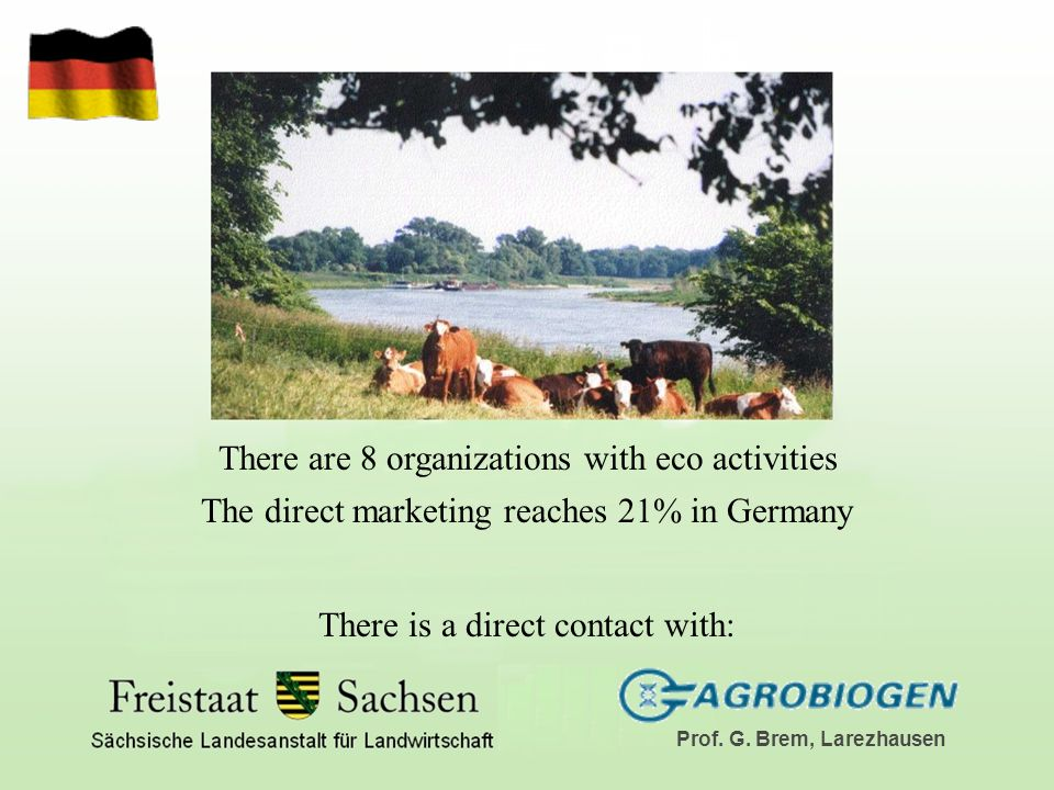 There are 8 organizations with eco activities The direct marketing reaches 21% in Germany There is a direct contact with: Prof.