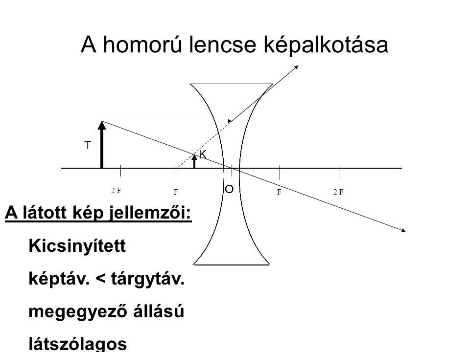 A homorú lencse képalkotása 2 FF O F F O F F O F F O F A látott kép jellemzői: Kicsinyített képtáv.
