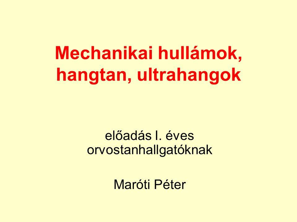 Mechanikai hullámok, hangtan, ultrahangok előadás I. éves orvostanhallgatóknak Maróti Péter