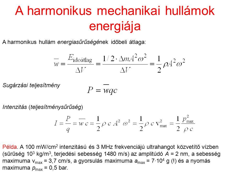 A harmonikus mechanikai hullámok energiája A harmonikus hullám energiasűrűségének időbeli átlaga: Sugárzási teljesítmény Intenzitás (teljesítménysűrűs